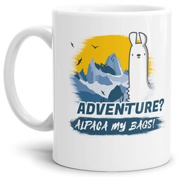Tasse Alpaca my bags adventure Weiss