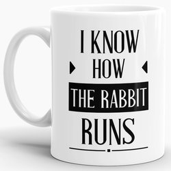 Tasse I know how the rabbit runs  Weiss
