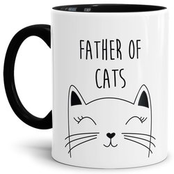 Tasse Father of Cats Schwarz