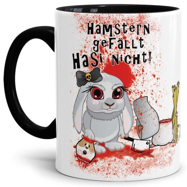 Anti-Hamster-Tasse Böses Hasi - Hamstern - Innen & Henkel Schwarz