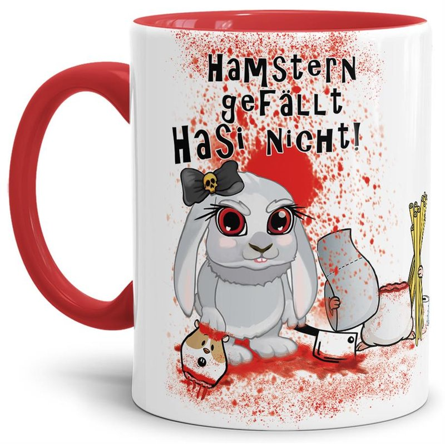 Anti-Hamster-Tasse Böses Hasi - Hamstern - Innen & Henkel Rot