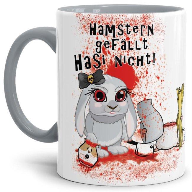 Anti-Hamster-Tasse Böses Hasi - Hamstern - Innen & Henkel Grau