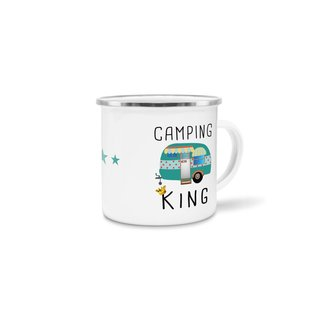 Emaille Tasse - Camping King - Emaille groß silber Rand
