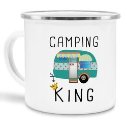 Emaille Tasse - Camping King - Emaille klein silber Rand