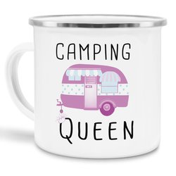 Emaille Tasse - Camping Queen - Emaille groß silber Rand