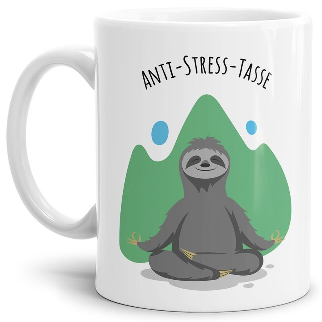 Anti Stress Tasse - Faultier - Weiß