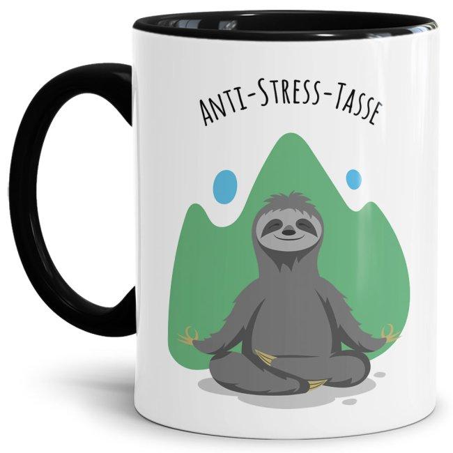 Anti Stress Tasse - Faultier - Innen & Henkel Schwarz