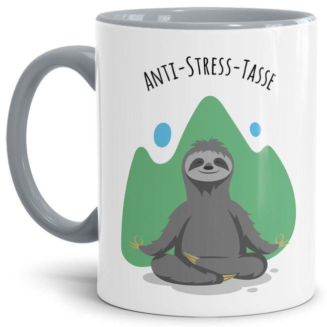 Anti Stress Tasse - Faultier - Innen & Henkel Grau