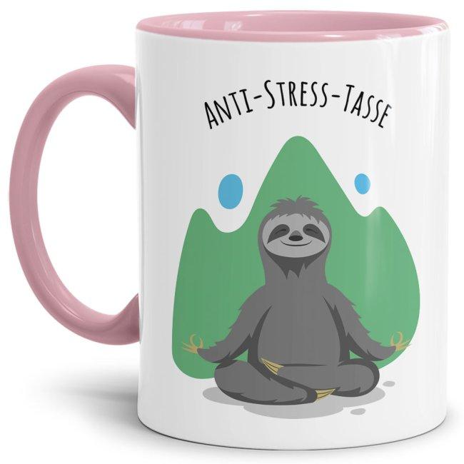 Anti Stress Tasse - Faultier - Innen & Henkel Rosa