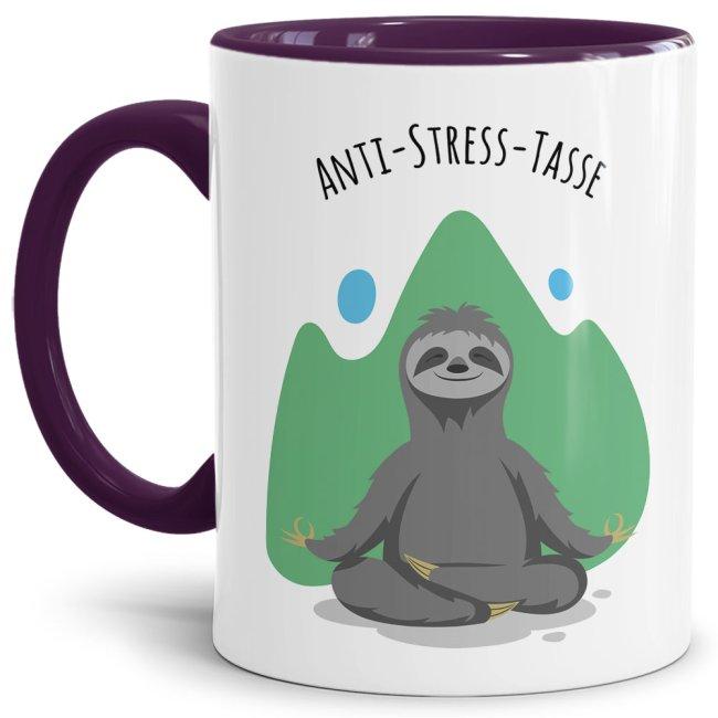 Anti Stress Tasse - Faultier - Innen & Henkel Violett