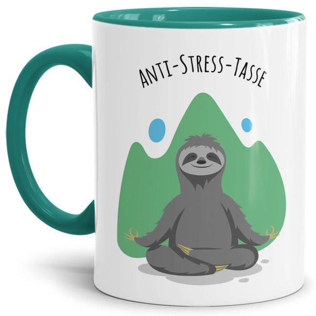 Anti Stress Tasse - Faultier - Innen & Henkel Türkis