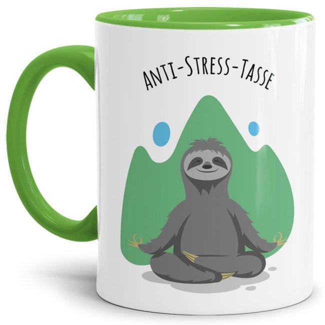 Anti Stress Tasse - Faultier - Innen & Henkel Hellgrün